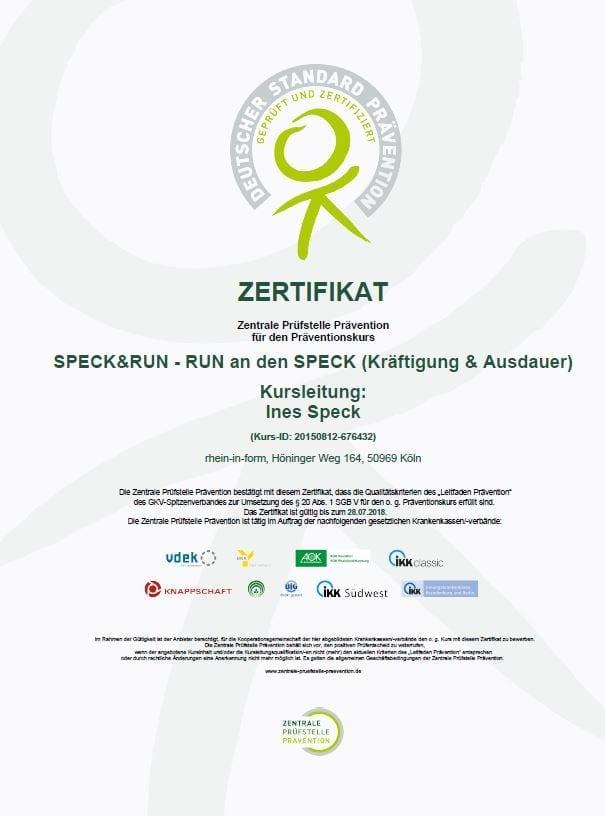 Zertifikat der zentralen Prüfstelle für Prävention