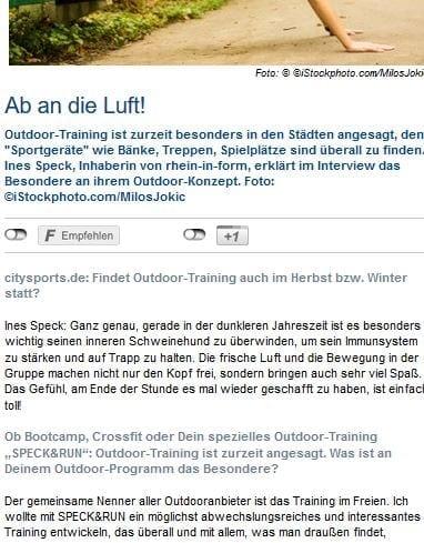 citysports.de Beitrag SPECK&RUN